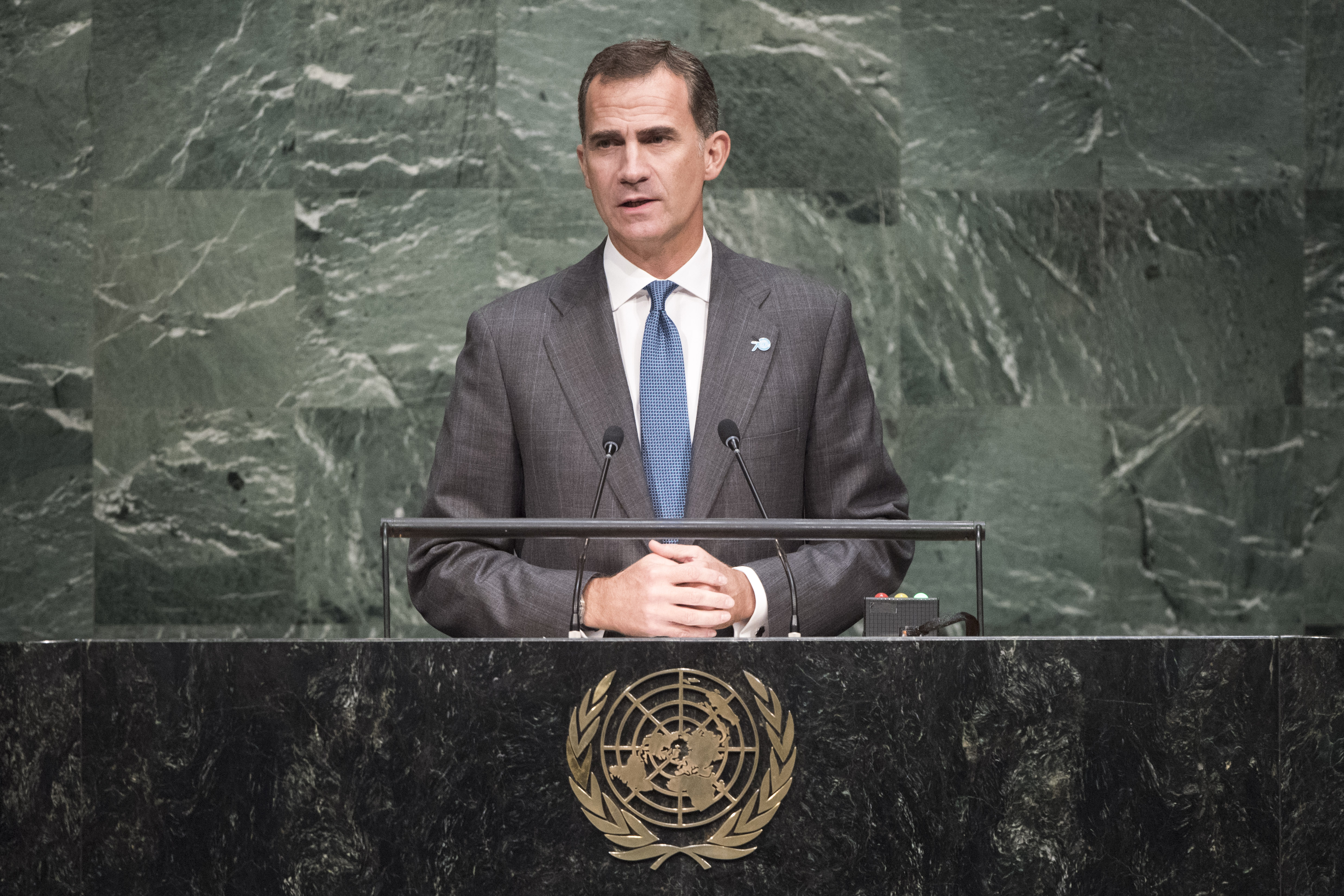 , addresses the United Nations summit for the adoption of the post-2015 development agenda.
