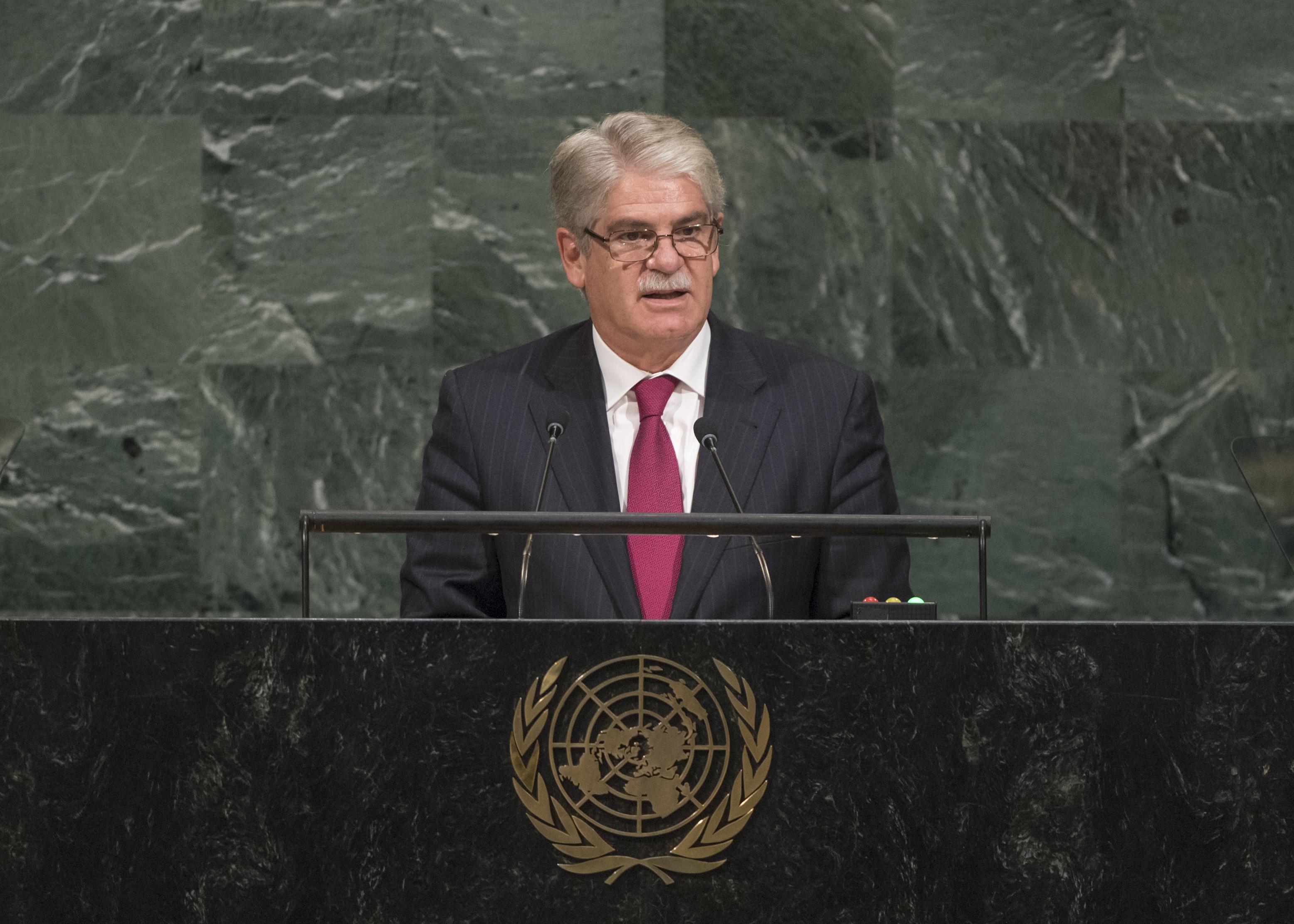 Alfonso Dastis interviene en el plenario de la Asamblea General de Naciones Unidas.